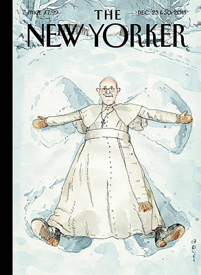 Winter Painting - Pope Francis Makes A Snow Angel by Barry Blitt