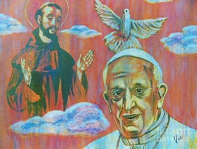 Visionary Art Painting - Pope Francis  Saint Francis by Judy Via-Wolff