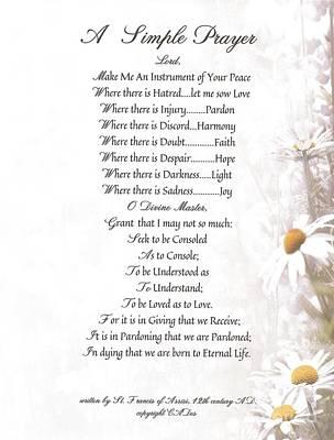 Pope Francis St. Francis Simple Prayer Daisies Art Print