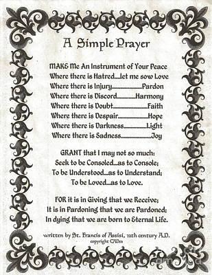 Pope Francis St. Francis Simple Prayer Fleury Of Faith Art Print by Desiderata Gallery