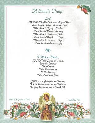 Pope Francis St. Francis Simple Prayer Florentine Angel Art Print by Desiderata Gallery