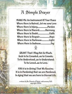 Pope Francis St. Francis Simple Prayer For Peace Art Print by Desiderata Gallery