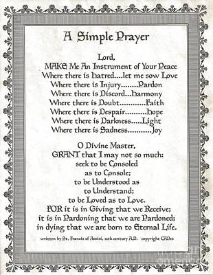 Pope Francis St. Francis Simple Prayer Scrolling Faith Print by Desiderata Gallery