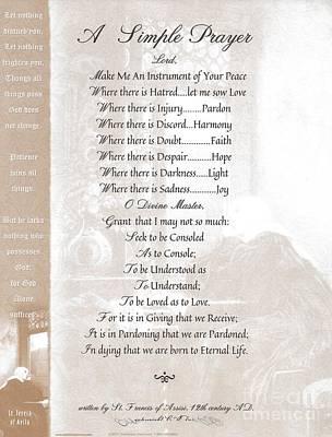 Pope Francis St. Francis Simple Prayer St. Teresa Print by Desiderata Gallery