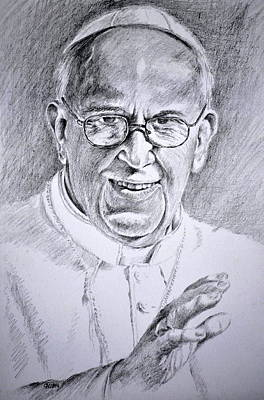 America The Continent Drawing - Pope Franciscus by Henryk Gorecki