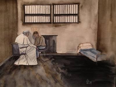 Pope John Paul II And The Assassin Art Print by Laura LaHaye