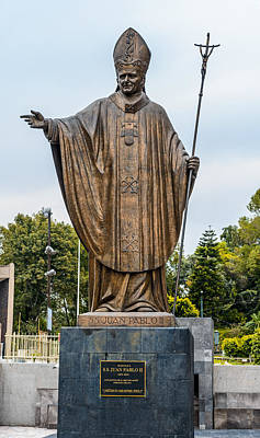 Photograph - Pope John Paul Monument Beside Old Basilica In Guadalupe Mexico by Marek Poplawski