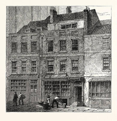 Popes House Plough Court Lombard Street 1860 London Art Print