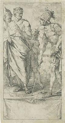 Popilius Laenas Draws A Circle, Jan Miel Art Print by Jan Miel