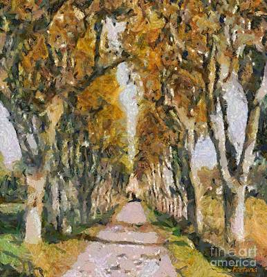 Rural Scenes Painting - Poplar Road To Saint Remy Hospital by Dragica  Micki Fortuna