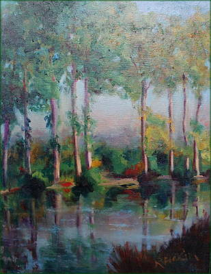 Art Print featuring the painting Poplars by Rosemarie Hakim