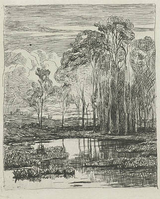 Water Reflections Drawing - Poplars, Willem Roelofs by Willem Roelofs (i)