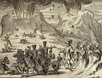 Popocatepetl And Aztec Conquest Print by American Philosophical Society