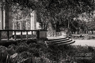 Popp Photograph - Popp Fountain Entrance - Bw by Kathleen K Parker