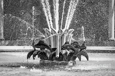 Popp Photograph - Popp Fountain In City Park Bw by Kathleen K Parker