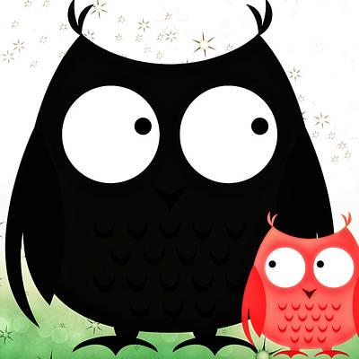 Eyes Of A Child Digital Art - Poppa And Baby Owl  by Chastity Hoff