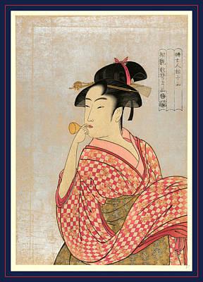 1753 Drawing - Poppen O Fuku Musume by Kitagawa, Utamaro (1753-1806), Japanese