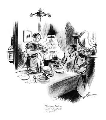 Menorah Drawing - Popper, Milton Wants Chris'mas This Year by Kemp Starrett