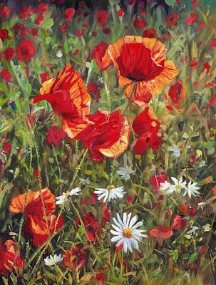 Poppies Field Painting - Poppie And Daisies by David Stribbling