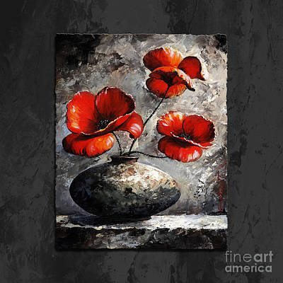 Poppies 02 - Style Black White And Red Art Print by Emerico Imre Toth