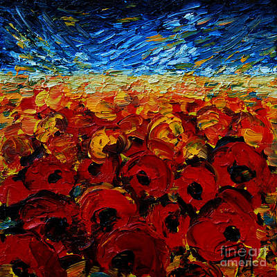 Nature Abstract Painting - Poppies 2 by Mona Edulesco