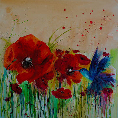 Poppies Field Drawing - Poppies And A Blue Bird by Isabel Salvador