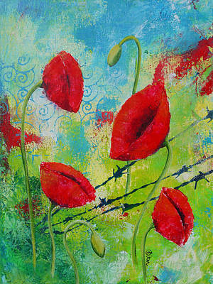 Poppies And Barbed Wire Art Print by Bitten Kari