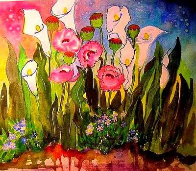 Painting - Poppies And Callas by Esther Woods