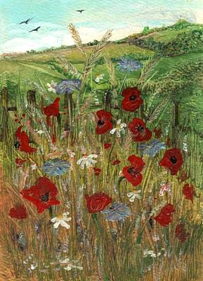 Painting - Poppies And Cornflowers by Carol Rowland