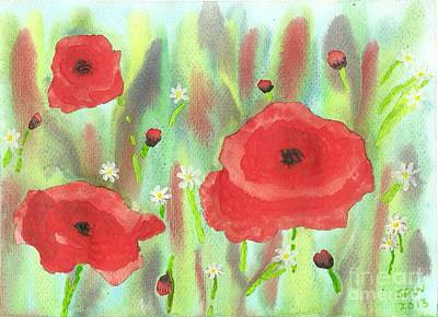 Poppies And Daisies Art Print by John Williams