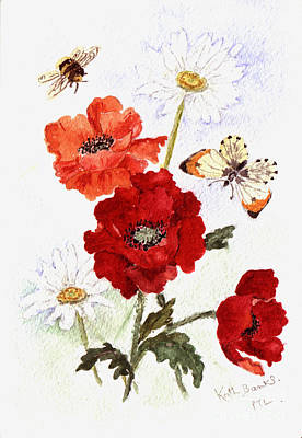 Painting - Poppies And Daisies by Kath Banks