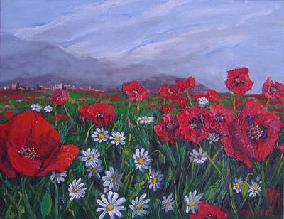 Art Print featuring the painting Poppies And Daisies by Nina Mitkova