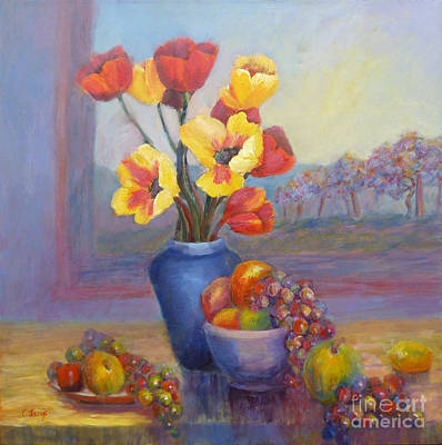 Painting - Poppies And Fruit by Carolyn Jarvis