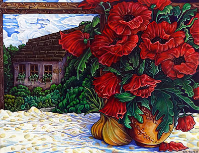 Outdoor Still Life Painting - Poppies And Onions by Thome Designs
