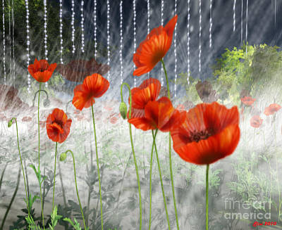 Art Print featuring the digital art Poppies And Pearls by Susanne Baumann