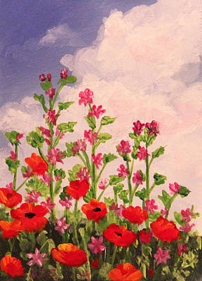 Painting - Poppies And Puffy Clouds by Janet Greer Sammons