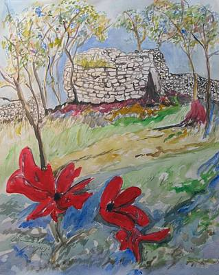 Painting - Poppies And Ruins by Esther Newman-Cohen