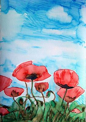 Poppies And Sky Art Print by Tara Thelen