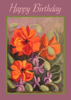 Painting - Poppies And Vincas Card by Ruth Soller