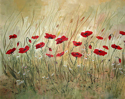 Art Print featuring the painting Poppies And Wild Flowers by Dorothy Maier