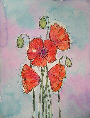 Poppies Painting - Poppies by Angie Livingstone