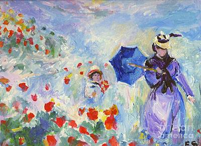 Poppies Field Drawing - Poppies At Argenteuil Claude Monet by Eric  Schiabor