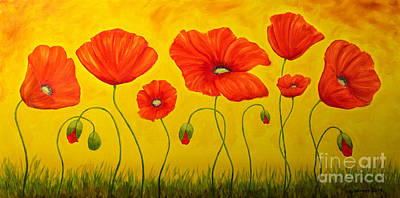 Red Poppy Painting - Poppies At The Time Of by Veikko Suikkanen