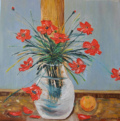 Poppies At The Window Oil Modern Painting Original by Katia Iourashevich Ricci
