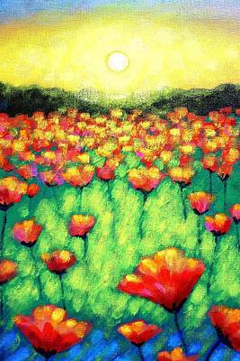 Perspective Painting - Poppies At Twilight    Cropped Version by John  Nolan