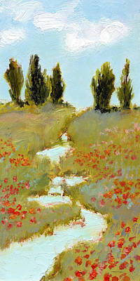 Painting - Poppies By A Stream by J Reifsnyder
