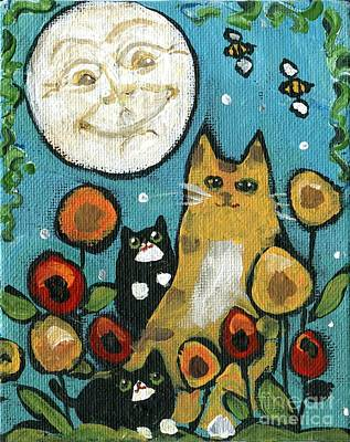 Moonface Painting - Poppies Cats by S Pimental