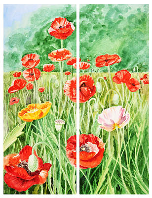Poppies Field Painting - Poppies Collage I by Irina Sztukowski
