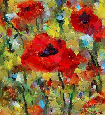 Tuscany Art Mixed Media - Poppies by Dragica  Micki Fortuna