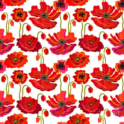Red Poppy Wall Art - Digital Art - Poppies Field. Seamless Vector Pattern by Svetlana Kononova